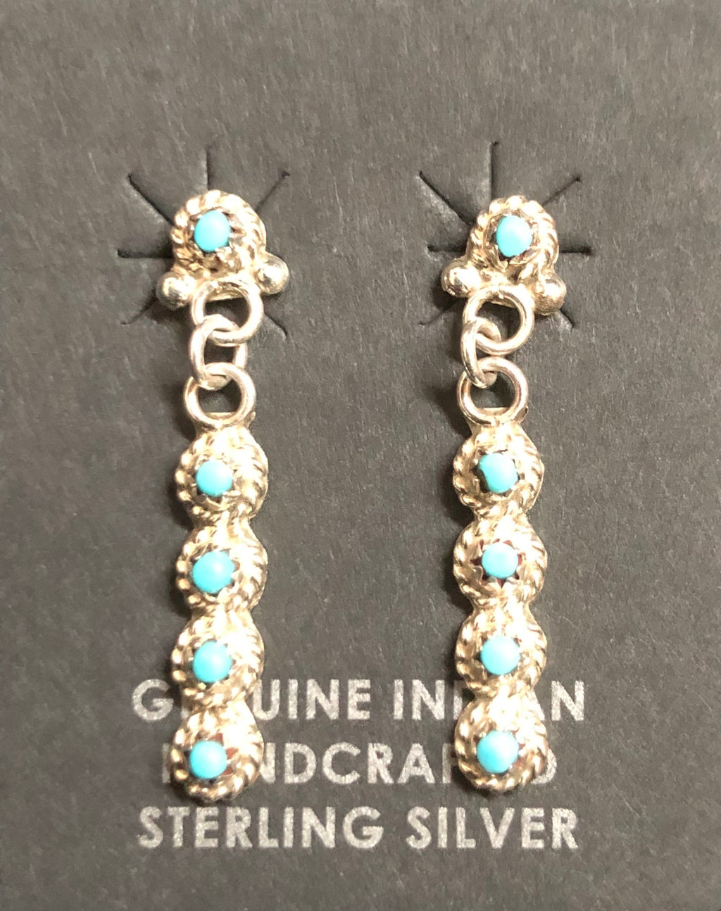 Native American Zuni Made Turquoise Post Earrings with Dangle