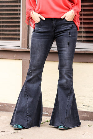 L & B Black Bell Bottom Jean