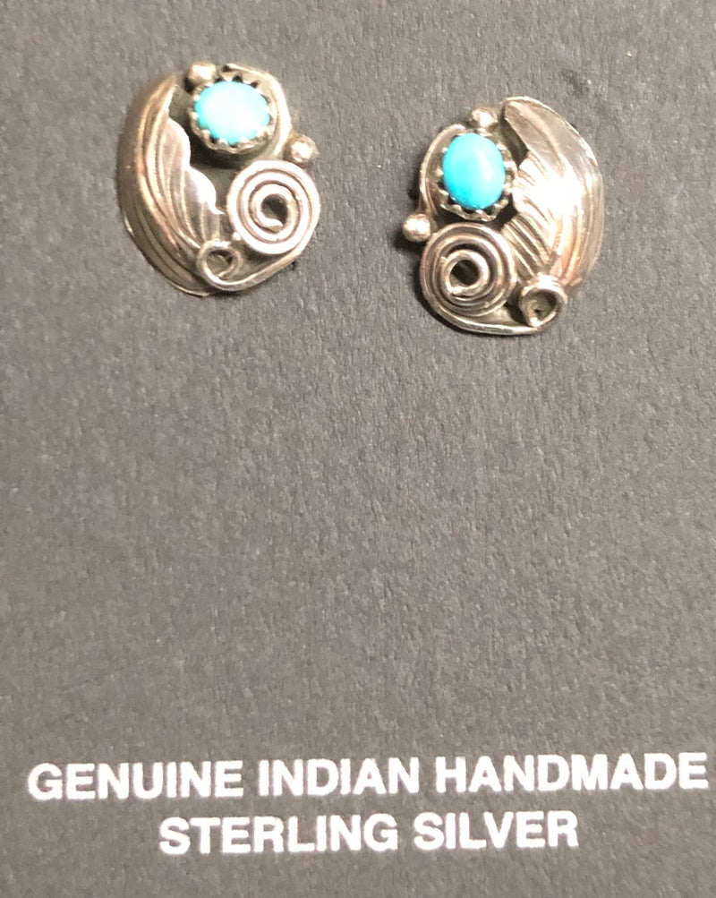 Turquoise Post Earrings Navajo Silver Studs
