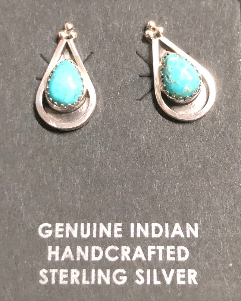Turquoise Teardrop Shadowbox Earrings