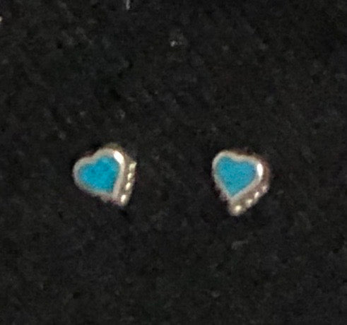 Turquoise Heart Stud Earrings