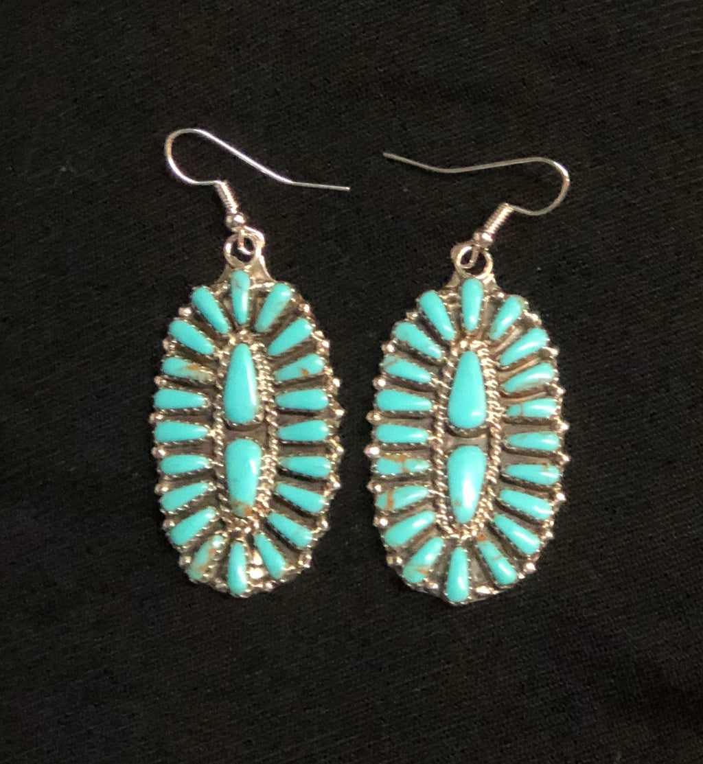 Navajo Turquoise Cluster Earrings