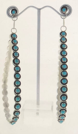 ZUNI LARGE TEARDROP SHAPED TURQUOISE EARRINGS