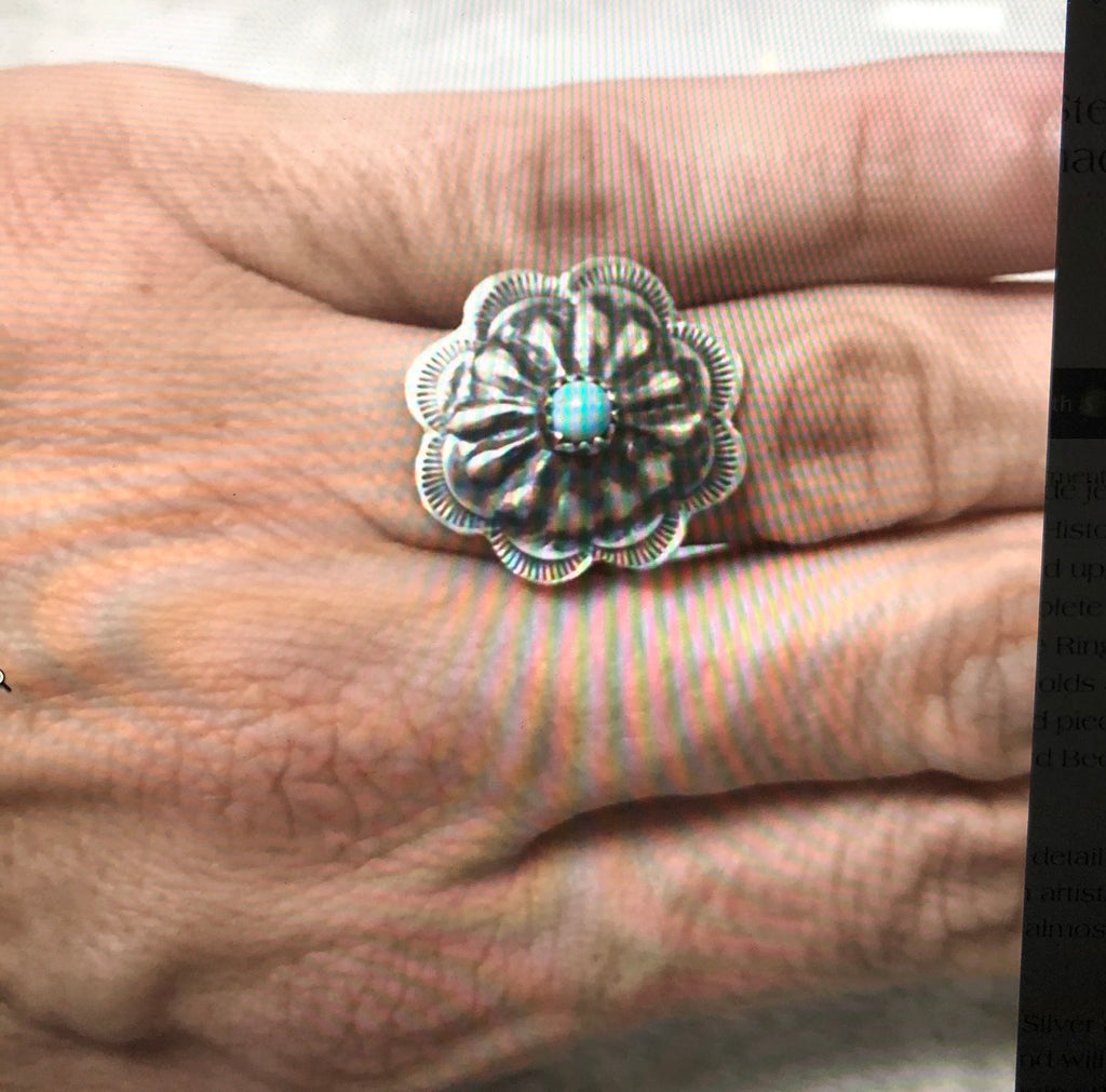 Sleeping Beauty Turquoise Concho Ring