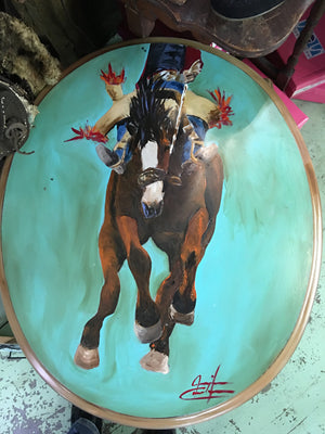 Oval Hand Painted Bronc Rider Table