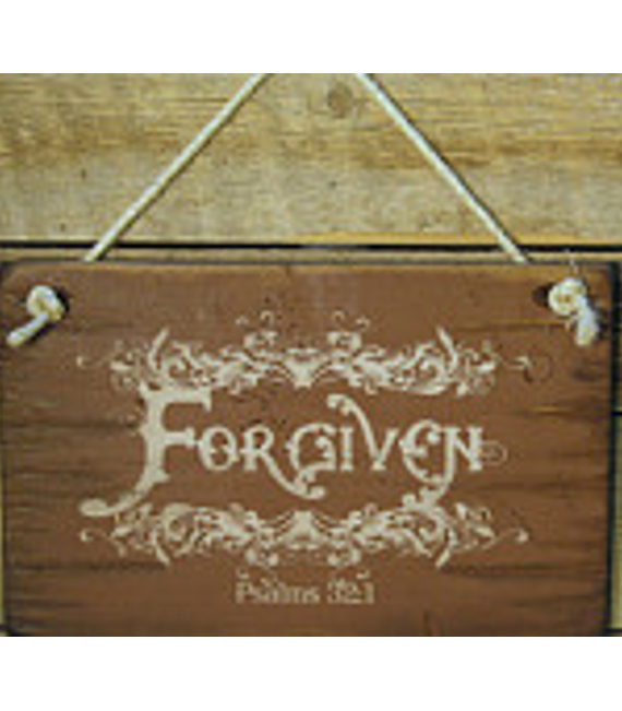 Forgiven, Psalms 32:1, Rustic, Antiqued, Wooden Sign