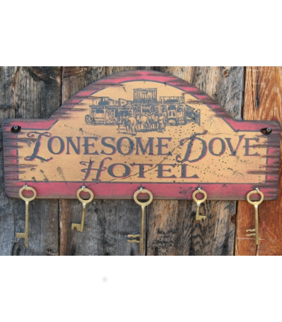 Lonesome Dove Hotel, Western, Antiqued, Wooden Key Hanger