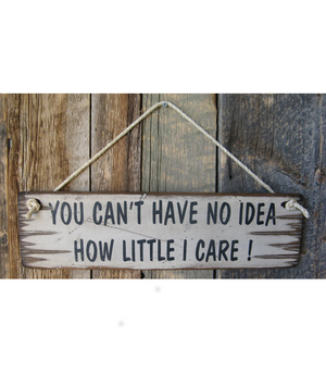 You Can't Have No Idea How Little I Care Wooden Sign