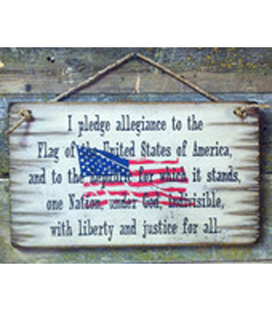 The Pledge Of Allegiance, Rustic, Antiqued, Wooden Sign