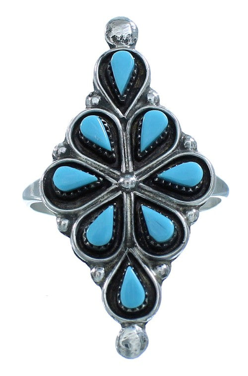 Turquoise Zuni Indian Authentic Sterling Silver Ring