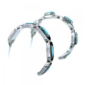 Turquoise And Sterling Silver Zuni Post Hoop Earrings