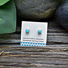 3mm Genuine Sleeping Beauty Turquoise Stud Earrings