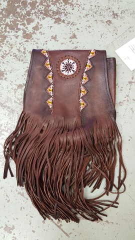 Beaded Bag Purse with Fringe