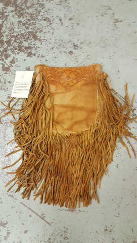Beige Tooled Leather Fringe Purse