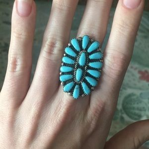Zuni Petit Point Turquoise Cluster Ring