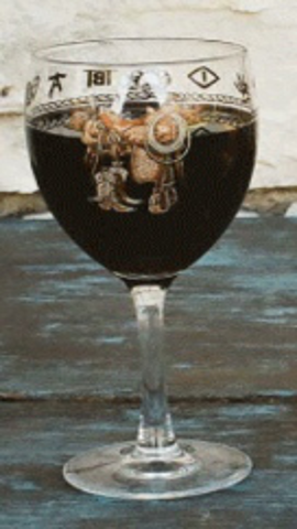 Wine Goblet w/Saddle Print