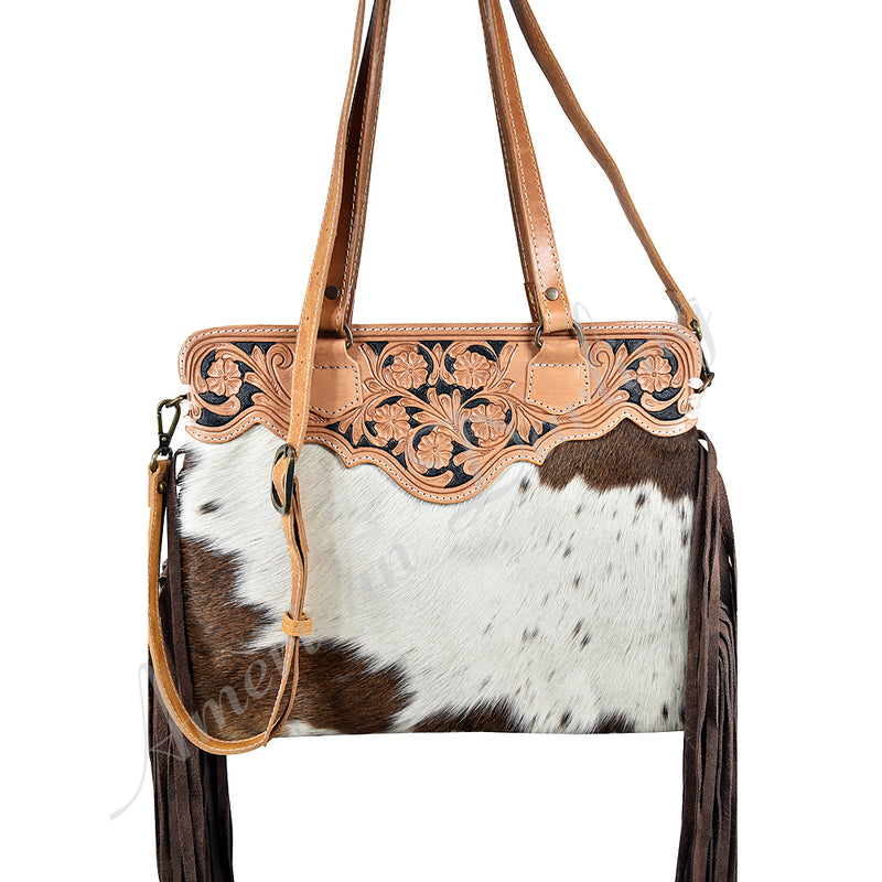 AMERICAN DARLING BROWN AND WHITE COWHIDE TOTE