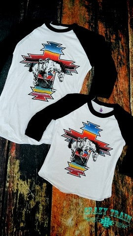 Kids Serape War Paint Baseball Tee
