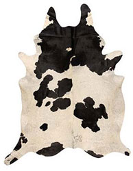Brazilian Large Black and White Cowhide