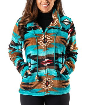 Aztec Flannel Plush Fleece Jacket