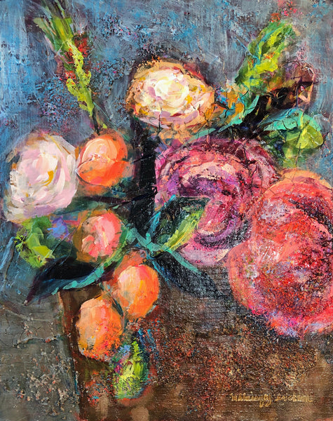 Highly textured expressionist floral