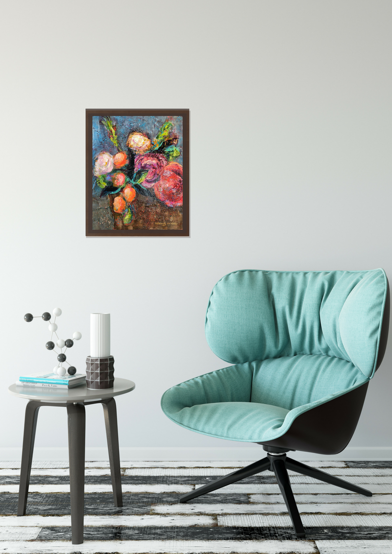 Highly textured expressionist floral in Situ with blue chair