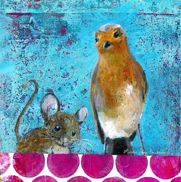 bird-mouse-polkadot-textured-painting