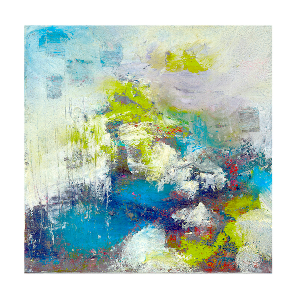 white green blue small afordable original abstract painting