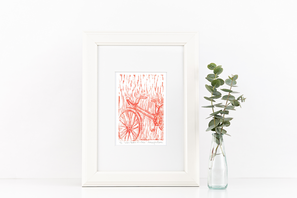 framed-orange-bike-linocut
