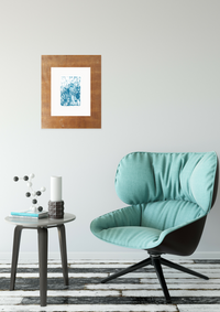 blue-bike-linocut-with-blue-chair
