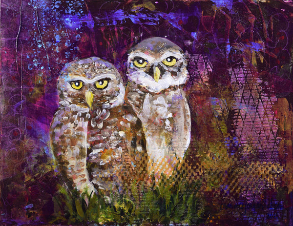 twin-burrowing-owls-painting-purple