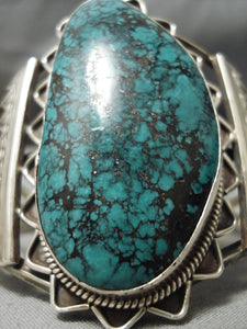 Towering Vintage Native American Navajo Green Spiderweb Turquoise Sterling Silver Bracelet Old