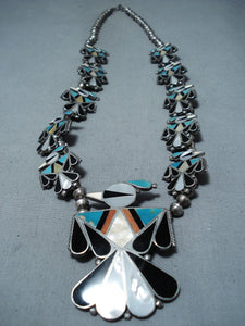Bird Vintage Native American Zuni Turquoise Sterling Silver Squash Blossom Necklace Old