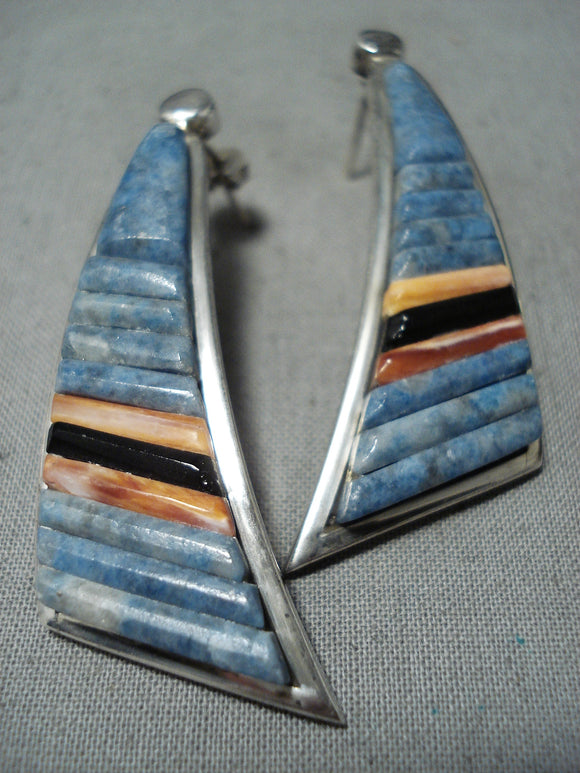 Important Vintage Native American Navajo Chalres Loloma Student Lapis Sterling Silver Earrings