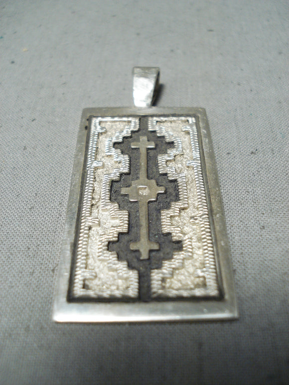 Unique Vintage Native American Navajo Sterling Silver Pendant Signed