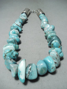 Mind Blowing 280 Grams Native American Navajo Turquoise Nugget Sterling Silver Tubule Necklace