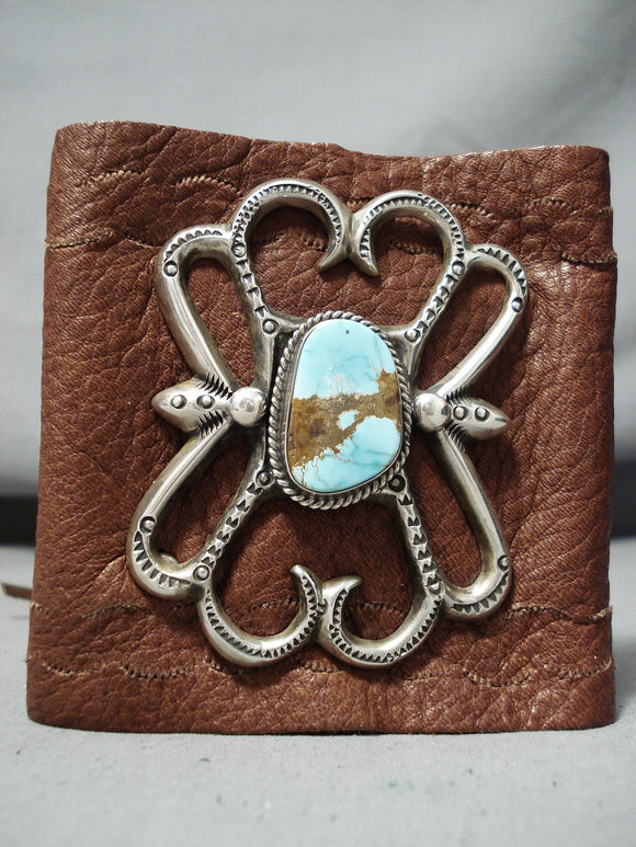 Magnificent Vintage Native American Navajo #8 Turquoise Mine Sterling Silver Bowguard