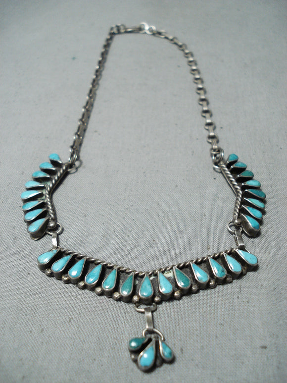 Astonishing Vintage Native American Zuni Blue Gem Turquoise Sterling Silver Necklace Old