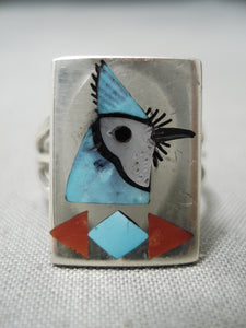 Striking Blue Jay Turquoise Zuni Native American Sterling Silver Ring