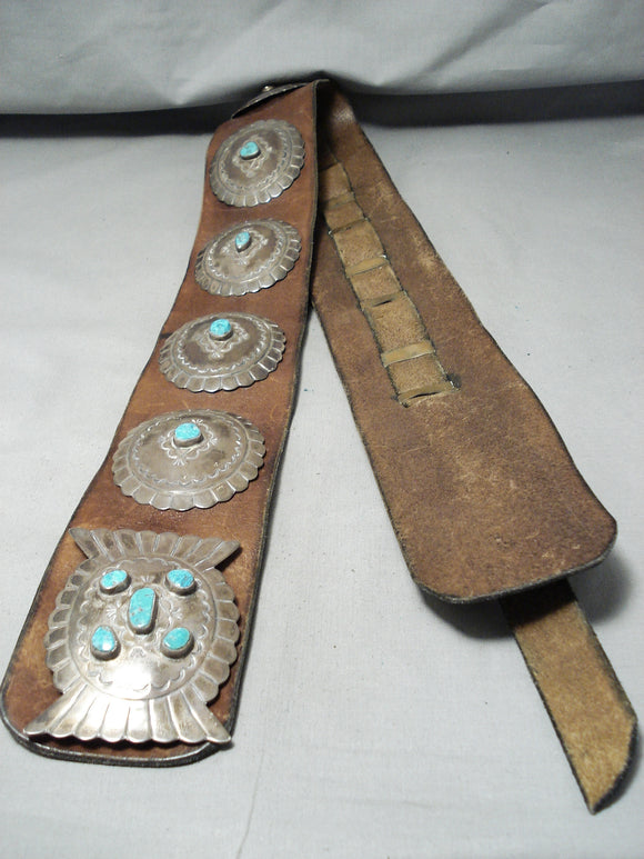Huge Heavy Museum Vintage Native American Navajo Turquoise Sterling Silver Concho Belt