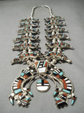 One Best Vintage Native American Zuni Turquoise Sterling Silver Squash Blossom Necklace