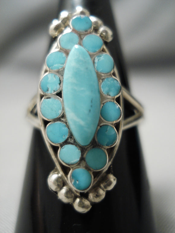 Snake Eyes Turquoise Vintage Navajo Sterling Silver Native American Ring