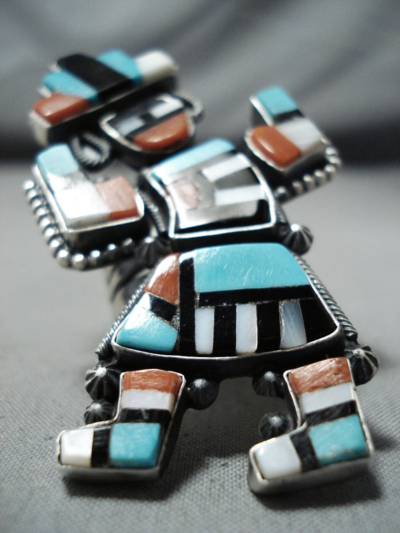 Spectacular Native American Navajo Inlay Turquoise Coral Jet Sterling Silver Rainbow Man Ring