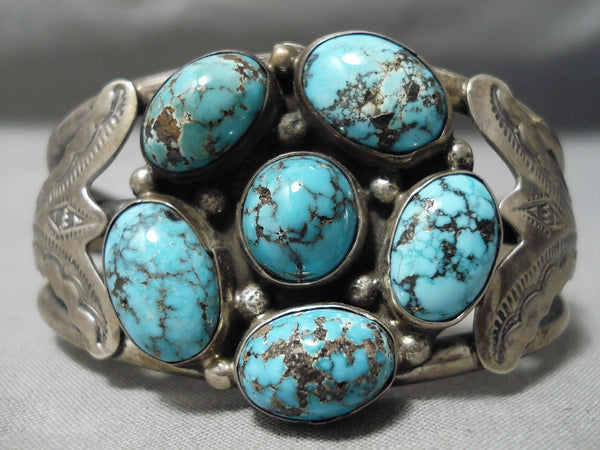 Important Vintage Native American Navajo Smokey Bisbee Turquoise Sterling Silver Bracelet Old