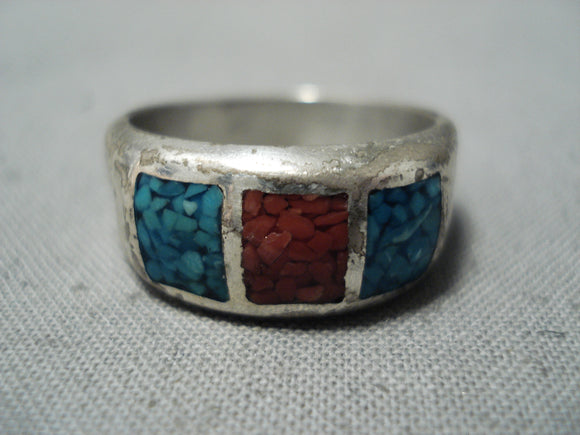 Marvelous Vintage Native American Navajo Turquoise Sterling Silver Band Ring Old