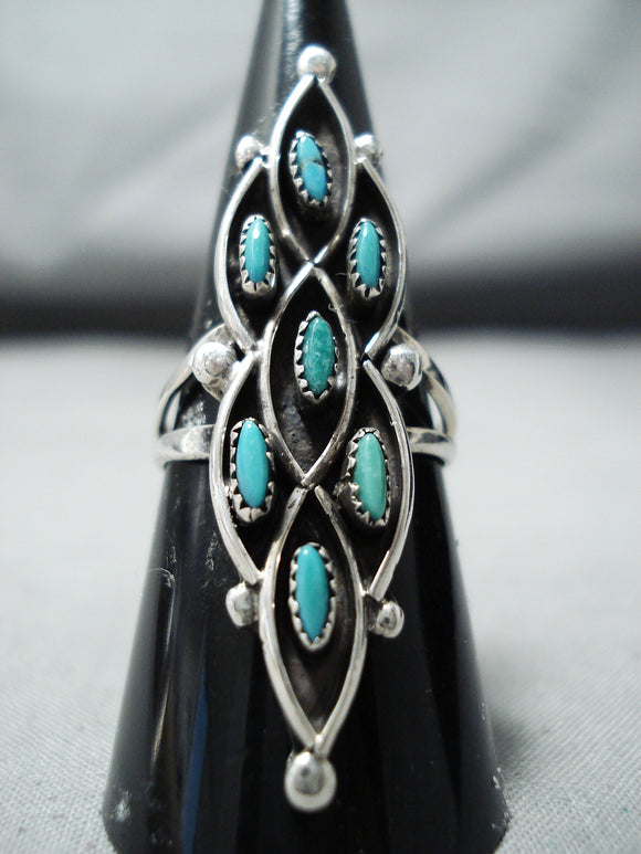Marvelous Vintage Native American Zuni 7 Blue Gem Turquoise Sterling Silver Ring