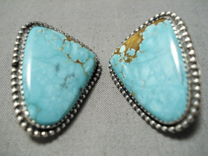 Important Native American Navajo Female Artist #8 Turquoise Sterling Silver Earrings