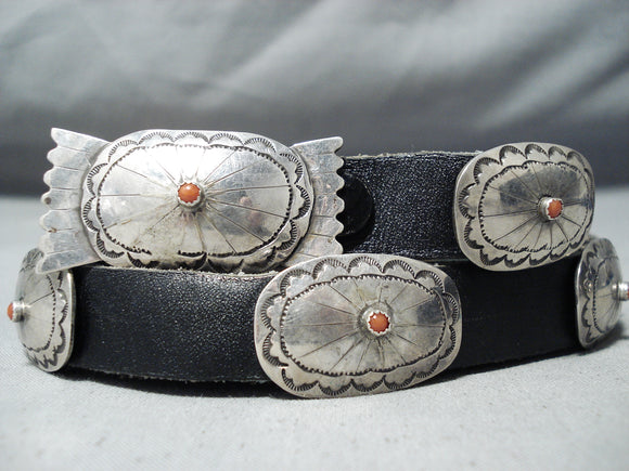 Amazing Vintage Navajo Coral Sterling Silver Concho Belt Native American