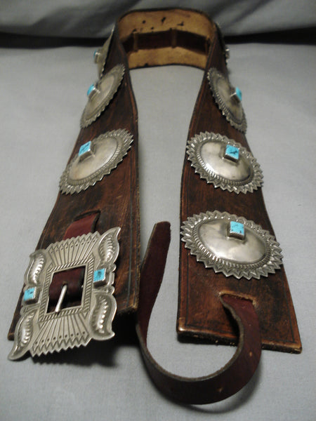 Very Important Alrend Ben Vintage Native American Navajo Turquoise Sterling Silver Concho Belt