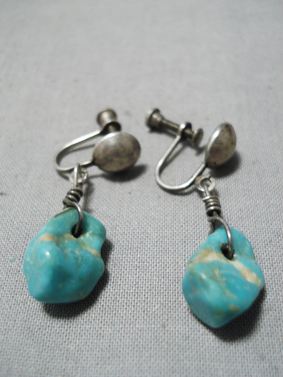 Exceptional Vintage Native American Navajo Royston Turquoise Sterling Silver Clip Earrings Old